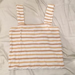 NWOT mustard and white striped square neck tank
